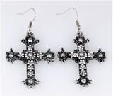 5030026 Cross Earrings CZ Diamond Antique Brushed Filigree Christian Religious
