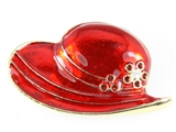 6030015 Ladies Red Hat Society Club Pin Brooche Clothes Clothing Redhat