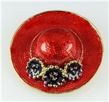 6030024 Ladies Red Hat Society Club Pin Brooche Clothes Clothing Redhat