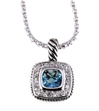 6030184 Designer Inspired Necklace with Beautiful Brilliant Aquamarine CZ Sto...