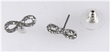 6030206 Eternity Infinity CZ Stones Stud earrings Silver Plated Sign Symbol C...