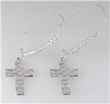 6030211 1.5 Inch Hoop Bead Cross Christian Earrings Pierced Religious Inspira...