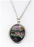 6030255 Abalone Shell Necklace Silver 16 Inch Chain