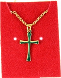 6030297 Cross Necklace Polished Gold Tone 18 Inch Matching Chain Christian Gi...