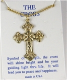 6030298 Cross Necklace Polished Gold Tone 18 Inch Matching Chain Christian Gi...