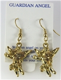 6030319 Guardian Angel Earrings 14kt Gold Plated Dangle Christian Cross Relig...