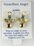 6030322 March Guardian Angel Birthstone Stud 14kt Gold Plated Earrings Christ...