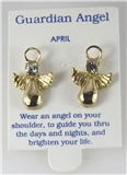 6030323 April Guardian Angel Birthstone Stud 14kt Gold Plated Earrings Christ...