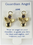 6030325 June Guardian Angel Birthstone Stud 14kt Gold Plated Earrings Christi...