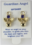 6030328 September Guardian Angel Birthstone Stud 14kt Gold Plated Earrings Ch...