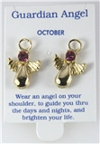 6030329 October Guardian Angel Birthstone Stud 14kt Gold Plated Earrings Chri...