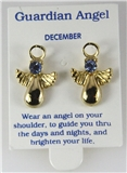 6030331 December Guardian Angel Birthstone Stud 14kt Gold Plated Earrings Chr...