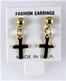 6030335 14kt Gold Made in USA Cross Stud Earrings Dangle Ball Christian Relig...