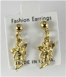 6030336 14kt Gold Made in USA Guardian Angel Stud Earrings Dangle Ball Christ...