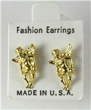6030337 14kt Gold Made in USA Guardian Angel Stud Earrings Christian Religiou...