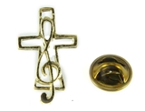 6030383 Music Note & Cross Lapel Pin Music Minister Volunteer Church Choir La...