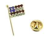 6030387 US Flag Brooch Lapel Pin Made in USA Red White Blue Patriotic Very Hi...