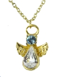 6030421 March Birthstone Angel Necklace Pendant Guardian Secret Friend Apprec...