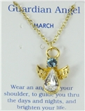 6030421 March Birthstone Angel Necklace Pendant Guardian Secret Friend Apprec...