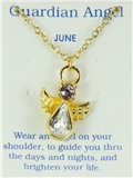 6030424 June Birthstone Angel Necklace Pendant Guardian Secret Appreciation R...