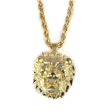 6030470 Lion's Head Necklace Polished Gold Tone Bling Lion