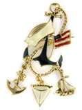 6030480 Navy Brooch Lapel Pin Mariner Marine Patriot US Flag