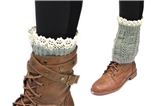 7030011 Olive Boot Cuffs with Lace Trim