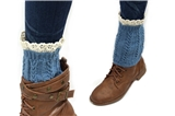 7030014 Blue Boot Cuffs with Lace Trim