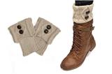7030028 Beige Folded 2 Button Boot Cuffs