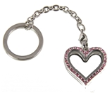 7030057a Floating Charm Keychain with Pink Rhinestones
