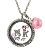 7030059a MK Floating Charm Necklace with Clear Rhinestones