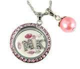 7030060a MK Floating Charm Necklace with Pink Rhinestones