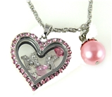 7030061a MK Floating Charm Necklace with Pink Rhinestones
