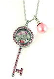 7030062a MK Floating Cham Necklace with Pink Rhinestones