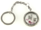 7030063a MK Floating Charm Keychain with Clear Rhinestones