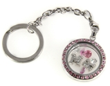 7030064a MK Floating Charm Keychain with Pink Rhinestones