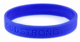 8010003 Set of 3 Blue Adult Embossed Godstrong Silicone Band Eph. Ephesians 6...