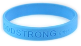8010007 Set of 3 Blue Adult Embossed Godstrong Silicone Band Eph. Ephesians 6...