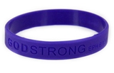 8010008 Set of 3 Purple Adult Embossed Godstrong Silicone Band Eph. Ephesians 6:10-11