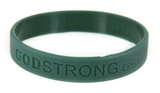 8010009 Set of 3 Dark Green Adult Embossed Godstrong Silicone Band Eph. Ephesians 6:10-11