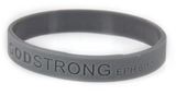 8010012 Set of 3 Grey Adult Embossed Godstrong Silicone Band Eph. Ephesians 6:10-11