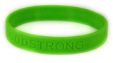 8010014 Set of 3 Bright Green Adult Embossed Godstrong Silicone Band Eph. Eph...