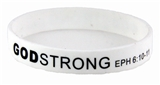 8030001 White with Black Adult Imprinted Godstrong Silicone Band Eph...