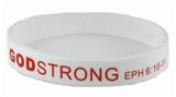 8030002 Set of 3 White with Red Adult Imprinted Godstrong Silicone Band Eph. ...