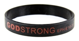 8030004 Set of 3 Black with Red Adult Imprinted Godstrong Silicone Band Eph. ...