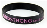 8030006 Set of 3 Black with Purple Adult Imprinted Godstrong Silicone Band Ep...