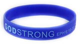 8030007 Set of 3 Blue with Light Blue Adult Imprinted Godstrong Silicone Band...