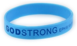 8030008 Set of 3 Light Blue with Blue Adult Imprinted Godstrong Silicone Band...