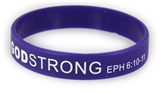 8030011 Set of 3 Purple with White Adult Imprinted Godstrong Silicone Band Ep...