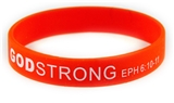 8030012 Set of 3 Red with White Adult Imprinted Godstrong Silicone Band Eph. ...